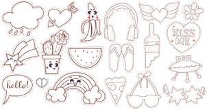 Ustawia kreskówki łaty odznaki lub mody szpilki Obrazy Stock