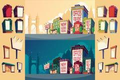Ustawia kreskówki ilustrację miastowy krajobraz z budynkami i wielkim billboardem na ścianie Obraz Stock