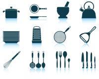 Ustawia kuchenną naczynie ikonę Fotografia Stock