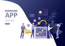 Ustawia lądowanie strony szablonu biznesowego planuje app ludzi, planowania strategicznego połączenie, strategie inwestycyjne, ka ilustracji