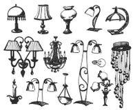 Ustawia lampy odizolowywać na białym tle Wektorowa ilustracja w nakreślenie stylu ilustracja wektor