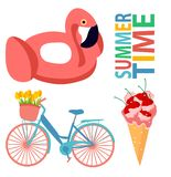 Ustawia lato lody projekta lata projekta rowerowego płaskiego płaskiego flaminga druku tulipanów jedzenia menchii czereśniowego k royalty ilustracja