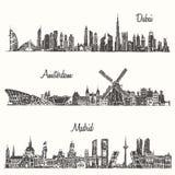 Ustawia linii horyzontu Dubaj Madryt Amsterdam rysującego nakreślenie Obraz Stock
