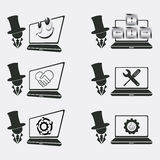 Ustawia loga dla komputer naprawy Zdjęcie Stock