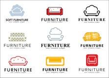 Ustawia loga, odznaki, emblemata i loga elementy dla meblarskiego sklepu, Obrazy Royalty Free