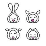 Ustawia loga projekta szablon z zwierzę głową Śliczna królika, kota, cakli i świni dysza dla szyldowego zwierzę domowe sklepu, Sy royalty ilustracja