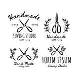 Ustawia logo handmade Pracowniany szyć royalty ilustracja