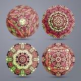 Ustawia mandala wzór Mandala stoi gorącego Zentangle w czerwieni Obrazy Stock