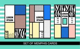 Ustawia Memphis karty Retro stylowi tekstury, deseniowych i geometrycznych elementy, Fotografia Stock