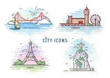 Ustawia miasto ikony wektoru ilustrację ilustracja wektor