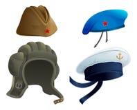 Ustawia Militarnego wojsko pióropusz Rosyjska militarna garnizonowa nakrętka Nowożytny Militarny kapelusz Zdjęcie Stock