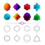 Ustawia minimalistyczny abstrakcjonistyczny geometrycznego i wieloboka royalty ilustracja