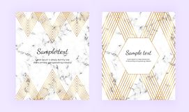 Ustawia minimalistycznych plakaty, biel marmurowa tekstura z złocistymi liniami Eleganccy luksusowi geometryczni projekty Szablon ilustracja wektor
