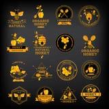 Ustawia Miodowe odznaki i etykietki Abstrakcjonistyczny pszczoła projekt ilustracji