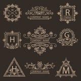 Ustawia monogramów logów ornamentacyjnego emblemat Obraz Royalty Free