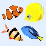 Ustawia morskiej akwarium ryba kolekcja majchery odznaki i l Obrazy Stock