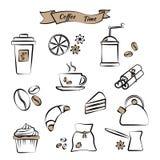 Ustawia na kawowym temacie, czerń kontur, wektor ilustracja wektor