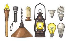 Ustawia oświetlenie przedmiot Pochodnia, świeczka, latarka, różni typ elektryczne lampy royalty ilustracja