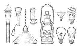 Ustawia oświetlenie przedmiot Pochodnia, świeczka, latarka, różni typ elektryczne lampy ilustracja wektor