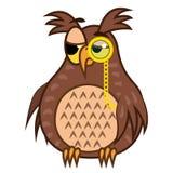 Ustawia odosobnionej Emoji charakteru kreskówki sarkastycznie sowy z pince nez ściągania ilustracj wizerunek przygotowywający wek ilustracji