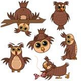 Ustawia odosobnionej Emoji charakteru kreskówki sowy z różnymi emocjami ściągania ilustracj wizerunek przygotowywający wektor ilustracja wektor