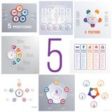 Ustawia 8 ogólnoludzkich szablonów elementów Infographics konceptualnego cycli Obrazy Royalty Free