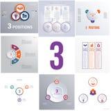 Ustawia 8 ogólnoludzkich szablonów elementów Infographics konceptualnego cycli Obrazy Stock