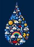 ustawiać opadowe ikony kształtują wody pogodę Obrazy Royalty Free