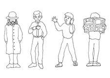 Ustawia osob aktywność doodle ręki rysunku nakreślenia wektorową ilustrację Obraz Stock