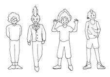 Ustawia osob aktywność doodle ręki rysunku nakreślenia wektorową ilustrację Zdjęcia Stock