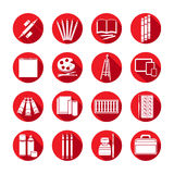 Ustawia płaskie ikony sztuki dostawy Biali ikony sztuki materiały w round czerwieni ramie z beveled cieniem Markier, barwioni ołó Fotografia Stock