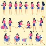 Ustawia płaskie projekt kobiety charakteru animaci pozy ilustracja wektor