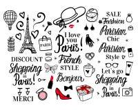 Ustawia Paryskiego literowanie typ Francuz kobiety mody czerni ilustracji Stylowa kobieta Wektorowy ręki nakreślenie Odziewać, ka royalty ilustracja