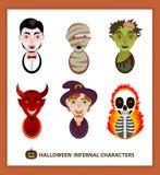 Ustawia 6 piekielnych charakterów dla wakacje Halloween Obrazy Stock