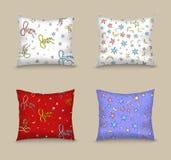 Ustawia poduszki dekorował bezszwowego wzór składał się gwiazdy i łęki Zdjęcie Royalty Free