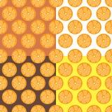 Ustawia pomarańczowego cytrusa tła bezszwowego brąz, żółty modny, prosty wektorowy cytryny tło, świeża lato witamina ilustracji