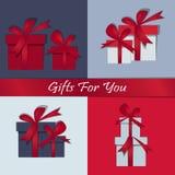 Ustawia prezentów Szczęśliwych boże narodzenia Pudełko z świątecznym Szczęśliwym nowym rokiem również zwrócić corel ilustracji we royalty ilustracja