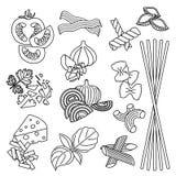 ustawia produkty bezszwowy wzoru Makaron i warzywa Konfekcyjny Zdjęcia Stock