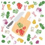 ustawia produkty bezszwowy wzoru pokrojeni warzywa Konfekcyjny wewnątrz Zdjęcia Royalty Free