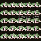 ustawia produkty bezszwowy wzoru pokrojeni warzywa Konfekcyjny wewnątrz Obraz Royalty Free