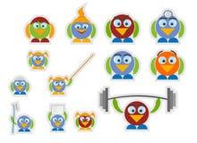 Ustawia ptaki z konturem Obrazy Stock