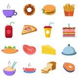 Ustawia różnorodność jedzenia, wody i mięsa fastfood, royalty ilustracja