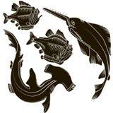 Ustawia rekiny Zdjęcia Royalty Free