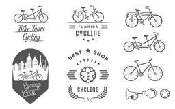 Ustawia rocznika kolarstwo, bicykl odznaki i znak i ilustracja wektor