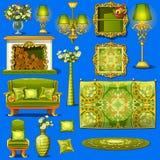 Ustawia rocznika meble tapicerującego w zieleni ilustracji