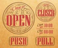 Ustawia rocznika otwarty zamknięty Kraft royalty ilustracja