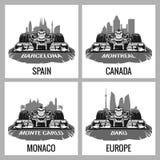 Ustawia rocznika plakatowy Uroczysty Prix Barcelona, Hiszpania, Montreal, Kanada Monte, Carlo, -, Monaco, Baku, Europa, wektor dl ilustracja wektor