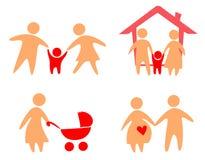 ustawiać rodzinne ikony Zdjęcia Royalty Free