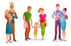 Ustawia rodziny z dziećmi Wektorowe ilustracje odizolowywać na białym tle ilustracja wektor