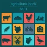 Ustawia rolnictwo, zwierzęcego husbandry ikony Zdjęcie Royalty Free